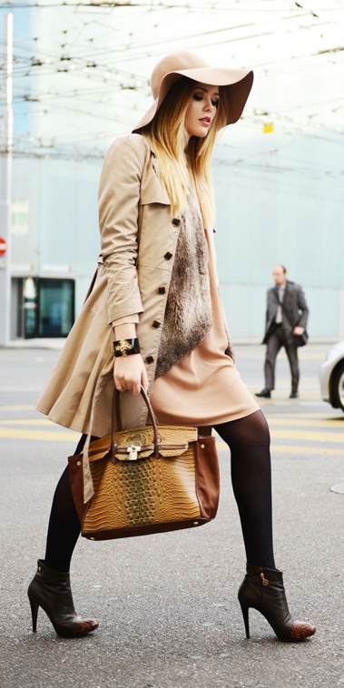 tan-dress-mini-hat-cognac-bag-brown-tights-brown-shoe-booties-trench-tonal-tan-jacket-coat-fall-winter-blonde-lunch.jpg