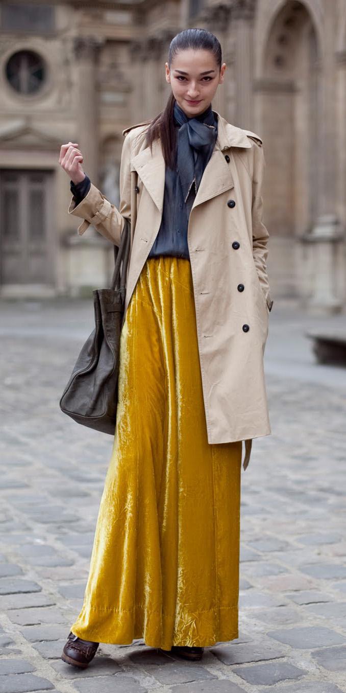 tan-jacket-coat-trench-velvet-brun-pony-yellow-maxi-skirt-fall-winter-lunch.jpg