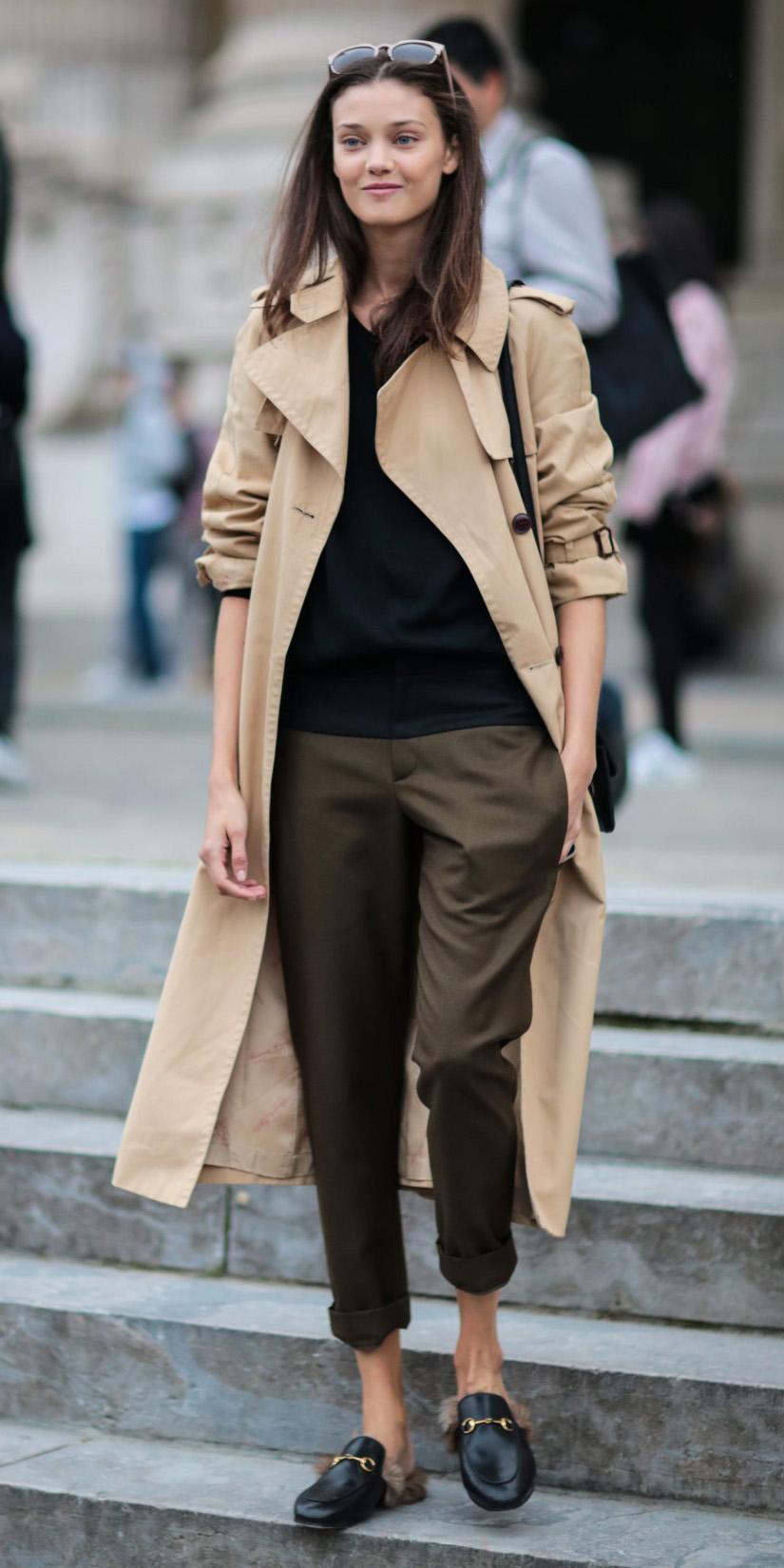 green-olive-joggers-pants-black-tee-brun-black-shoe-loafers-tan-jacket-coat-trench-fall-winter-weekend.jpg