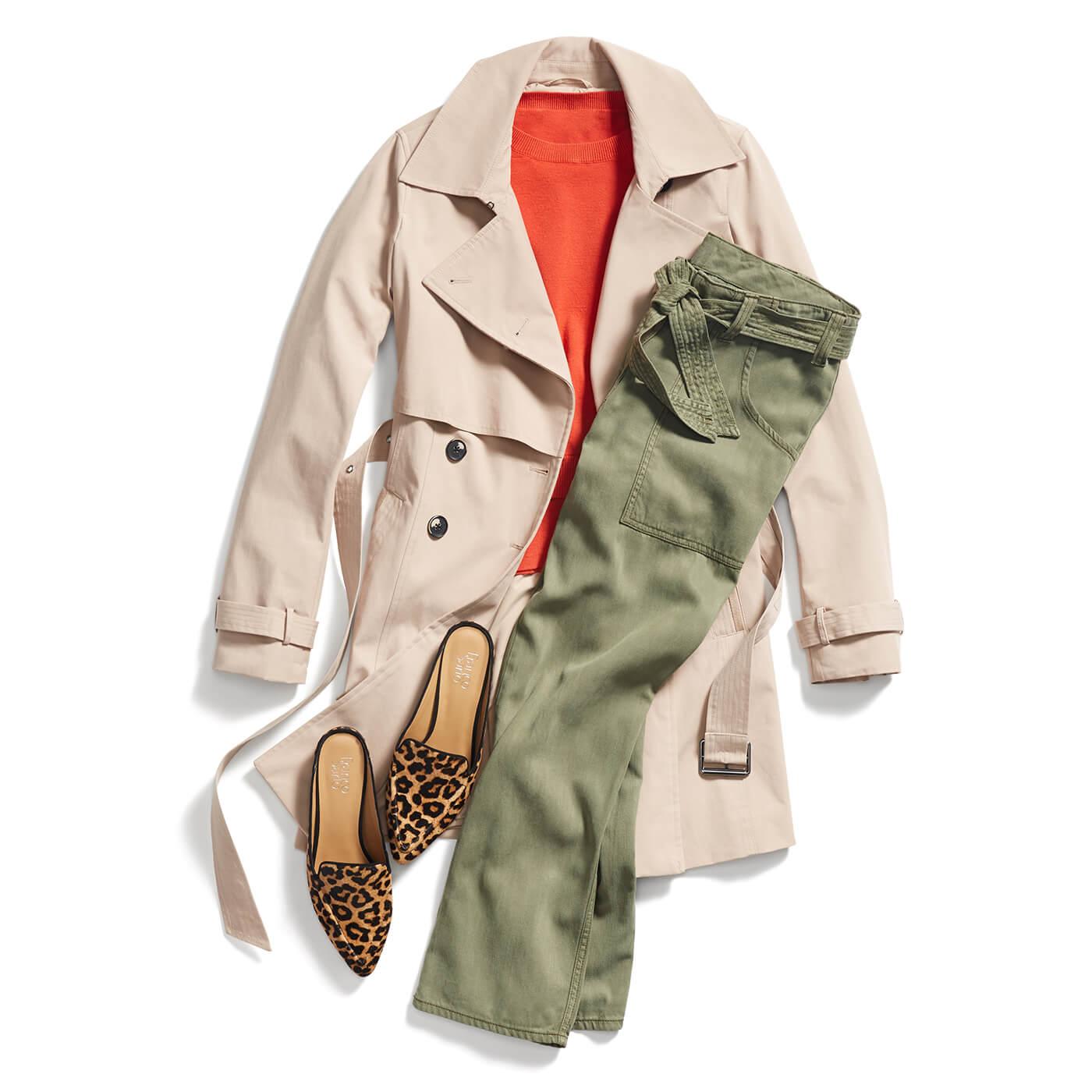 green-olive-skinny-jeans-orange-sweater-tan-shoe-pumps-leopard-print-tan-jacket-coat-trench-fall-winter-weekend.jpg