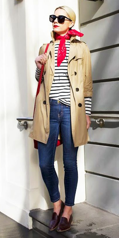 blue-navy-skinny-jeans-white-tee-stripe-red-scarf-neck-bandana-blonde-sun-red-bag-brown-shoe-loafers-tan-jacket-coat-trench-fall-winter-weekend.jpg