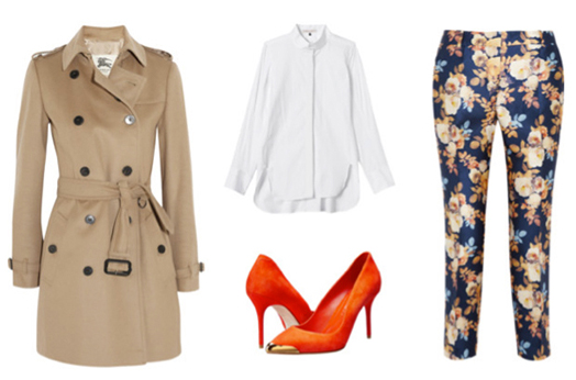 blue-navy-slim-pants-floral-print-orange-shoe-pumps-white-collared-shirt-tan-jacket-coat-trench-spring-summer-lunch.jpg