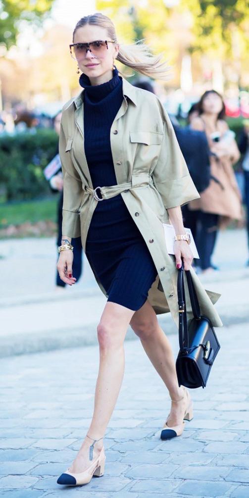blue-navy-dress-sweater-sun-pony-tan-jacket-coat-trench-black-bag-tan-shoe-flats-turtleneck-spring-summer-blonde-work.jpg