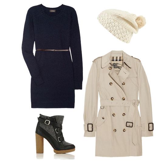 blue-navy-dress-sweater-black-shoe-booties-beanie-tan-jacket-coat-trench-fall-winter-lunch.jpg