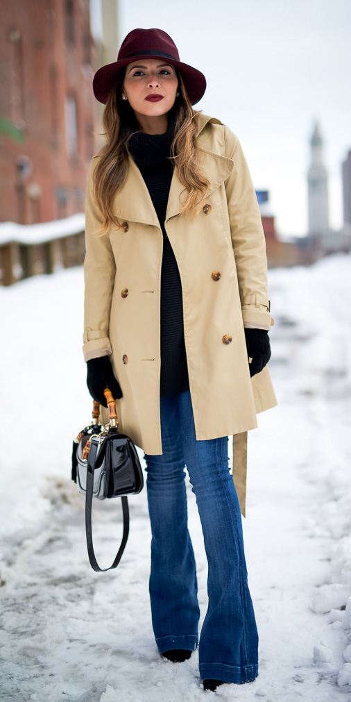 blue-med-flare-jeans-black-sweater-gloves-black-bag-tan-jacket-coat-trench-hat-layer-snow-fall-winter-hairr-lunch.jpg