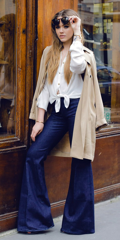 blue-navy-flare-jeans-white-collared-shirt-tan-jacket-coat-trench-tied-fall-winter-blonde-lunch.jpg
