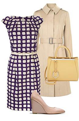 purple-royal-dress-tan-jacket-coat-trench-yellow-bag-tan-shoe-pumps-skinny-belt-print-shift-howtowear-fashion-style-outfit-spring-summer-work.jpg