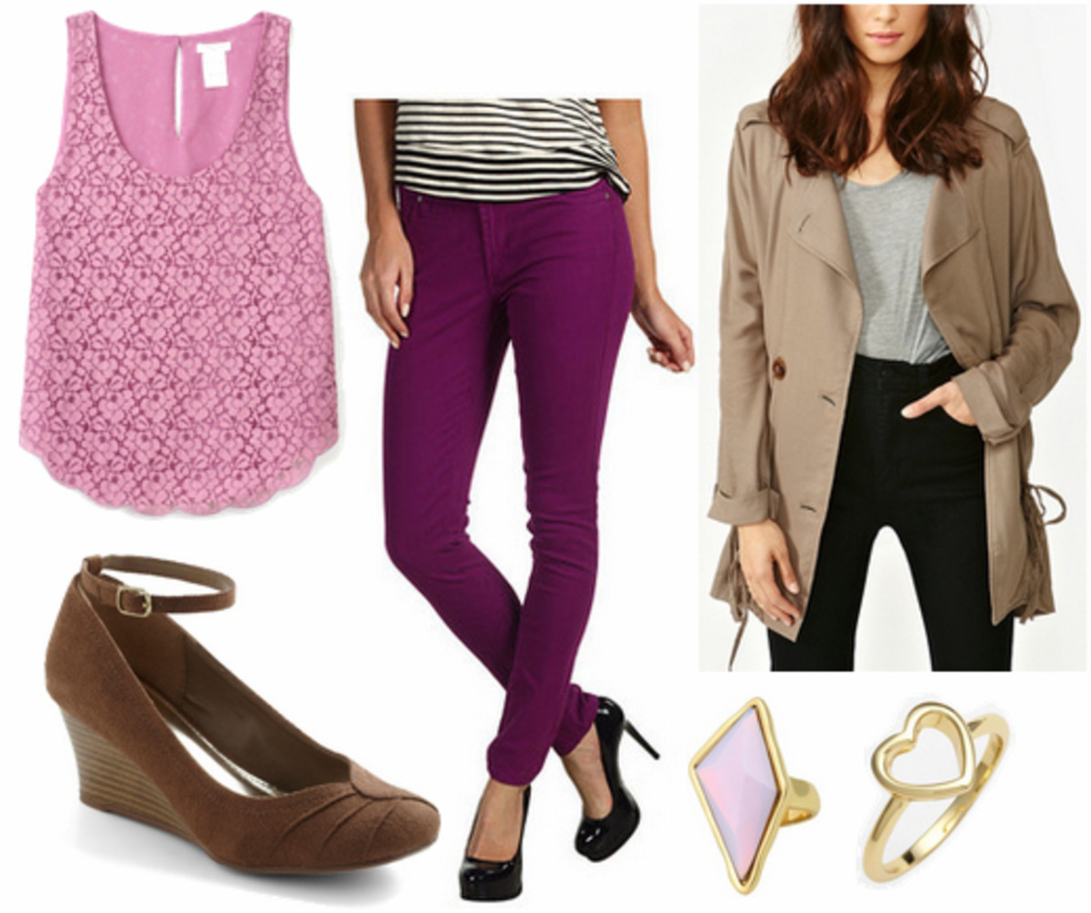 purple-royal-skinny-jeans-r-pink-magenta-top-lace-brown-shoe-pumps-tan-jacket-coat-trench-ring-howtowear-fashion-spring-summer-style-outfit-lunch.jpg