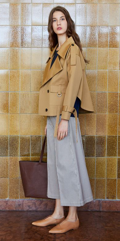grayl-culottes-pants-brown-bag-tote-hairr-tan-jacket-coat-trench-tan-shoe-brogues-fall-winter-work.jpg
