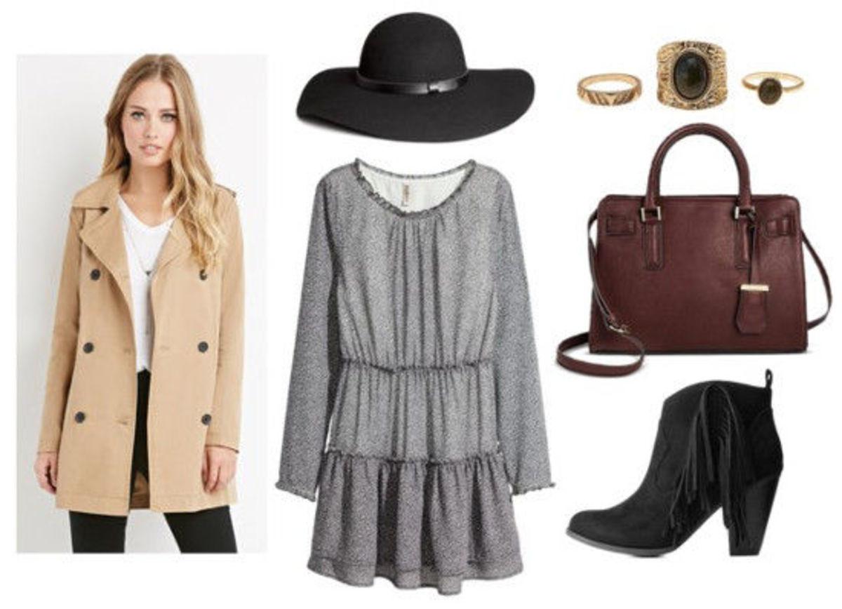 grayl-dress-peasant-hat-black-shoe-booties-brown-bag-tan-jacket-coat-trench-ring-howtowear-fashion-fall-winter-lunch.jpg