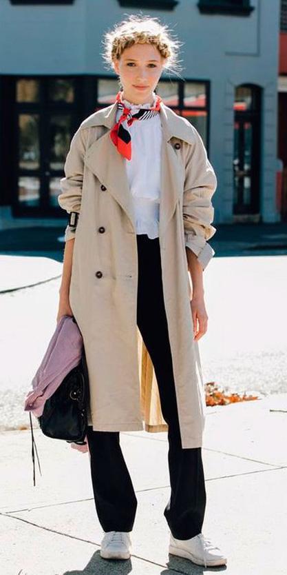 black-wideleg-pants-white-top-blouse-braid-orange-scarf-neck-white-shoe-sneakers-blonde-tan-jacket-coat-trench-spring-summer-lunch.jpg