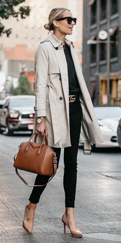 black-skinny-jeans-black-tee-belt-blonde-sun-bun-tan-shoe-pumps-cognac-bag-tan-jacket-coat-trench-spring-summer-lunch.jpg
