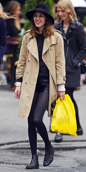 black-shorts-black-tights-black-sweater-hat-hairr-alexachung-black-shoe-booties-tan-jacket-coat-trench-fall-winter-lunch.jpg