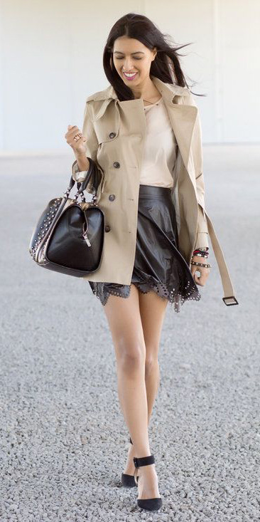 black-mini-skirt-black-bag-brun-black-shoe-pumps-tan-jacket-coat-trench-spring-summer-dinner.jpg