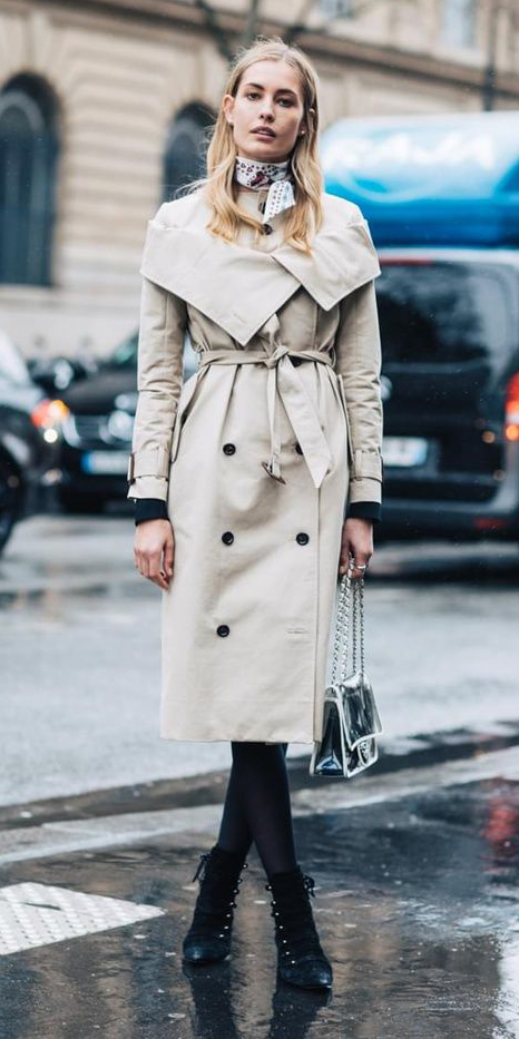 black-tights-black-shoe-booties-blonde-white-scarf-neck-tan-jacket-coat-trench-fall-winter-lunch.jpg