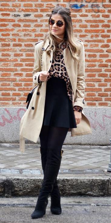 black-mini-skirt-tan-top-blouse-leopard-print-sun-hairr-black-tights-black-shoe-boots-tan-jacket-coat-trench-fall-winter-lunch.jpg