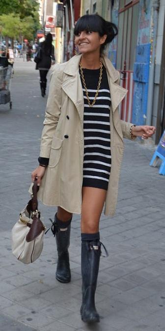 black-dress-sweater-stripe-tan-jacket-coat-trench-bun-necklace-black-shoe-boots-fall-winter-brun-lunch.jpg