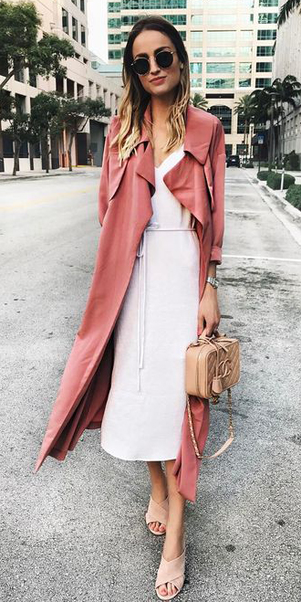white-dress-slip-sun-tan-bag-blonde-tan-shoe-sandalh-peach-jacket-coat-trench-spring-summer-lunch.jpg