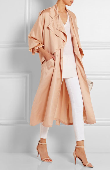white-skinny-jeans-tan-shoe-sandalh-peach-jacket-coat-trench-spring-summer-dinner.jpg