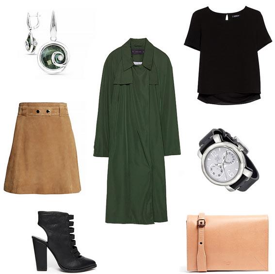 tan-mini-skirt-black-top-watch-tan-bag-black-shoe-booties-earrings-green-olive-jacket-coat-trench-fall-winter-lunch.jpg