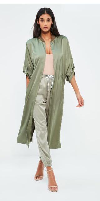 green-light-joggers-pants-silk-tan-tank-mono-brun-green-olive-jacket-coat-trench-spring-summer-dinner.jpeg