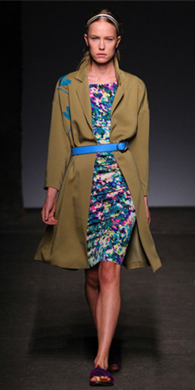 blue-med-dress-bodycon-print-belt-blonde-head-runway-green-olive-jacket-coat-trench-spring-summer-lunch.jpg