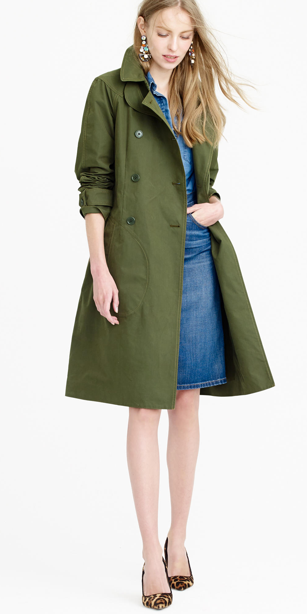 blue-med-pencil-skirt-blue-med-collared-shirt-earrings-blonde-tan-shoe-pumps-leopard-green-olive-jacket-coat-trench-fall-winter-lunch.jpg