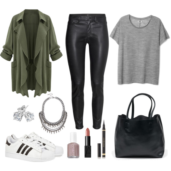 black-skinny-jeans-leather-grayl-tee-black-bag-white-shoe-sneakers-necklace-studs-nail-anorak-trench-green-olive-jacket-coat-spring-summer-weekend.jpg