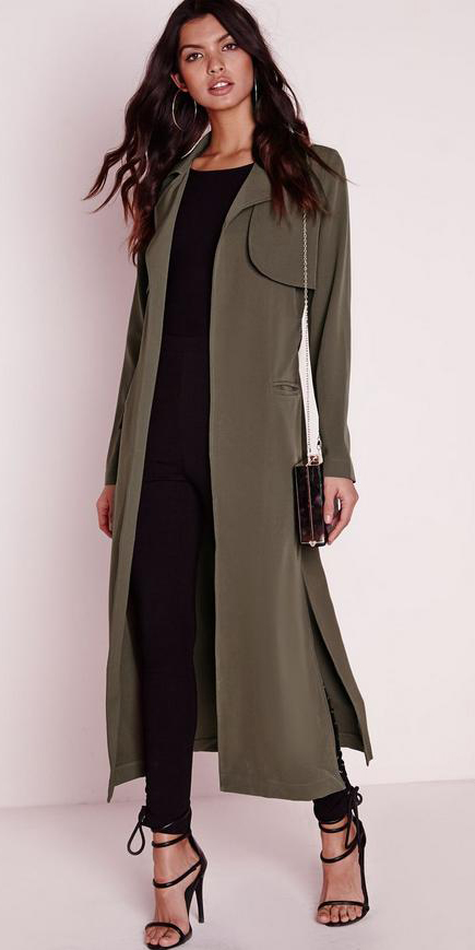 black-leggings-black-tee-black-shoe-sandalh-hoops-brun-fall-winter-trench-green-olive-jacket-coat-maxi-dinner.jpg