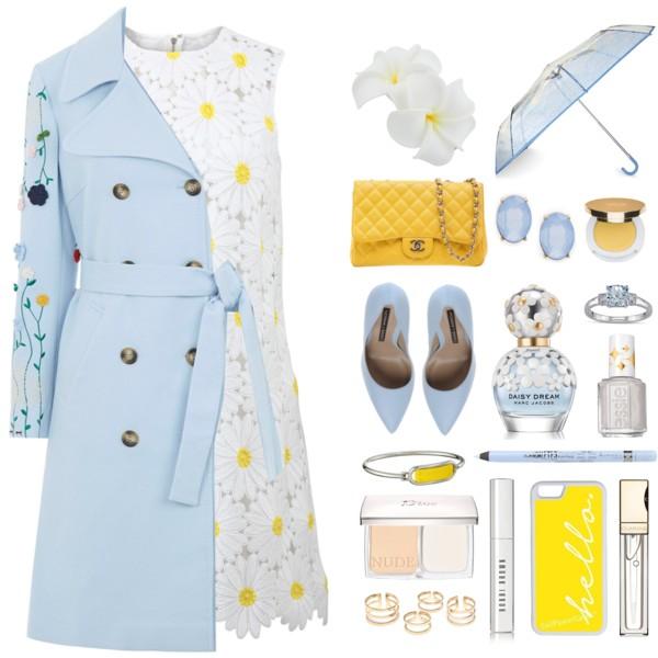 white-dress-mini-lace-yellow-bag-blue-shoe-pumps-bracelet-studs-blue-light-jacket-coat-trench-spring-summer-lunch.jpg
