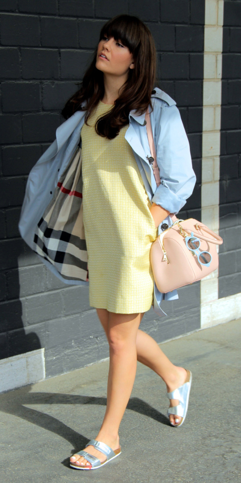 yellow-dress-blue-light-jacket-coat-trench-gray-shoe-sandals-tan-bag-sun-mini-howtowear-fashion-style-outfit-spring-summer-brun-weekend.jpg