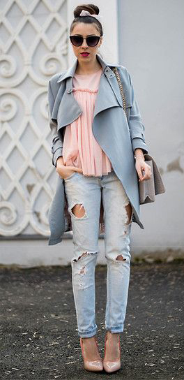 blue-light-skinny-jeans-pink-light-top-blouse-bun-tan-shoe-pumps-hairr-blue-light-jacket-coat-trench-spring-summer-lunch.jpg