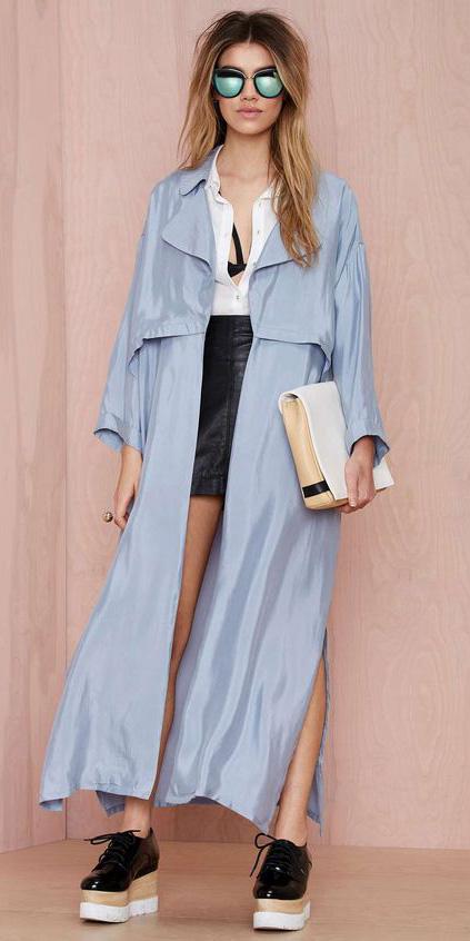 black-mini-skirt-black-bralette-blonde-sun-white-collared-shirt-black-shoe-brogues-blue-light-jacket-coat-trench-spring-summer-lunch.jpg