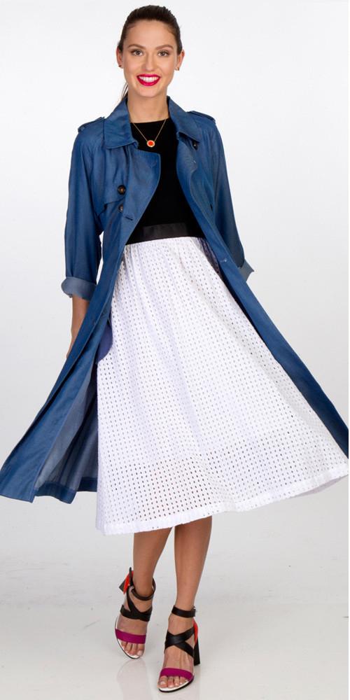 white-midi-skirt-black-tee-hairr-pony-black-shoe-sandalh-blue-med-jacket-coat-trench-spring-summer-lunch.jpg