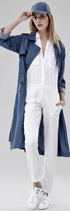 white-jumpsuit-white-shoe-sneakers-blue-med-jacket-coat-trench-hat-cap-blonde-spring-summer-weekend.jpg