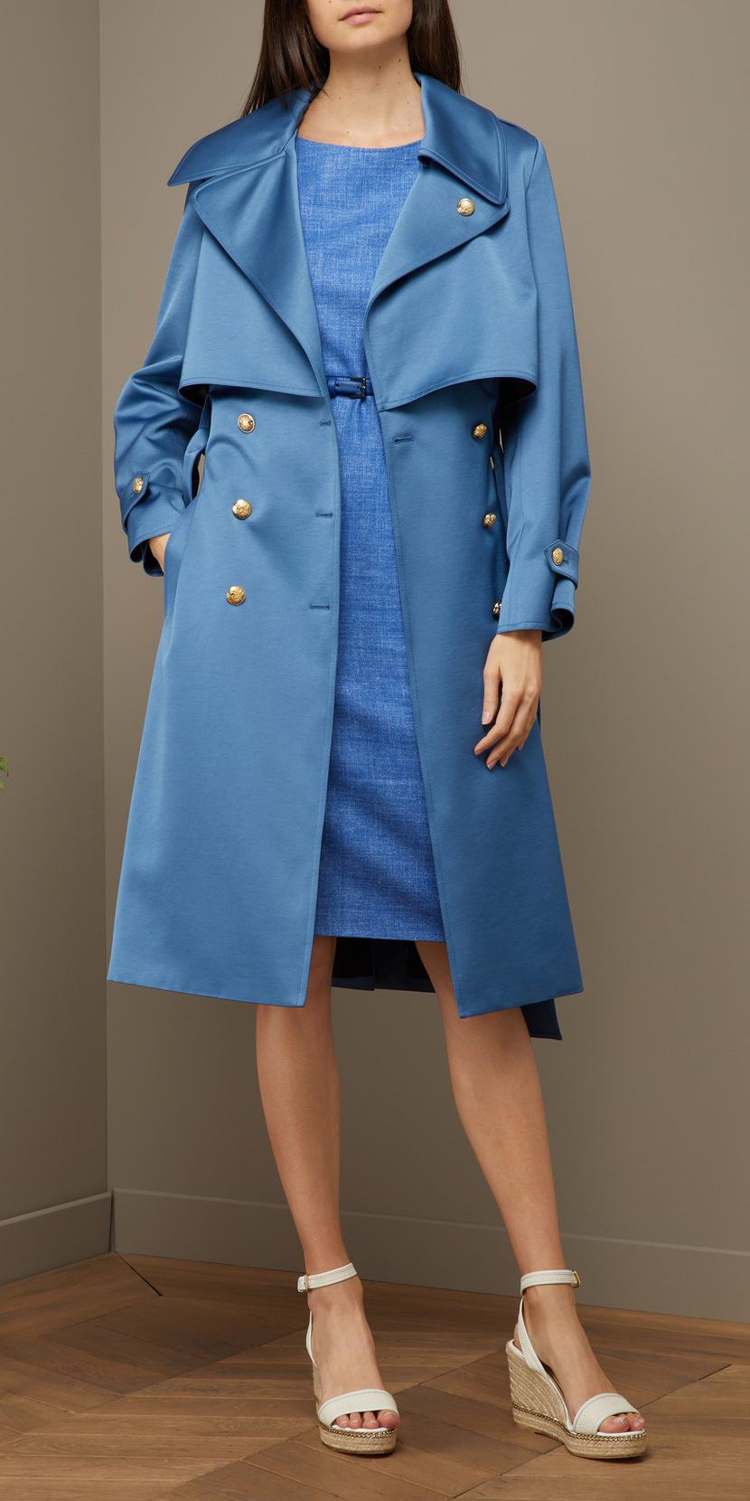 blue-med-dress-shift-white-shoe-sandalw-blue-med-jacket-coat-trench-spring-summer-lunch.jpg