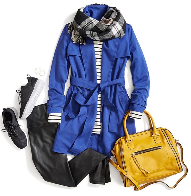 how-to-style-black-leggings-yellow-bag-black-scarf-plaid-print-black-tee-stripe-black-shoe-sneakers-blue-med-jacket-coat-trench-fall-winter-fashion-weekend.jpg