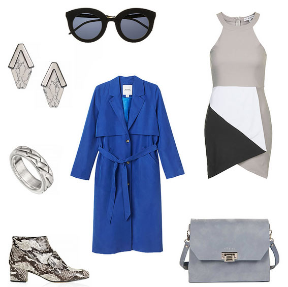 grayl-dress-bodycon-blue-bag-gray-shoe-booties-snakeskin-studs-sun-cobalt-blue-med-jacket-coat-trench-spring-summer-lunch.jpg