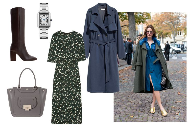 green-dark-dress-midi-print-brown-shoe-boots-gray-bag-tote-watch-blue-navy-jacket-coat-trench-fall-winter-work.jpg