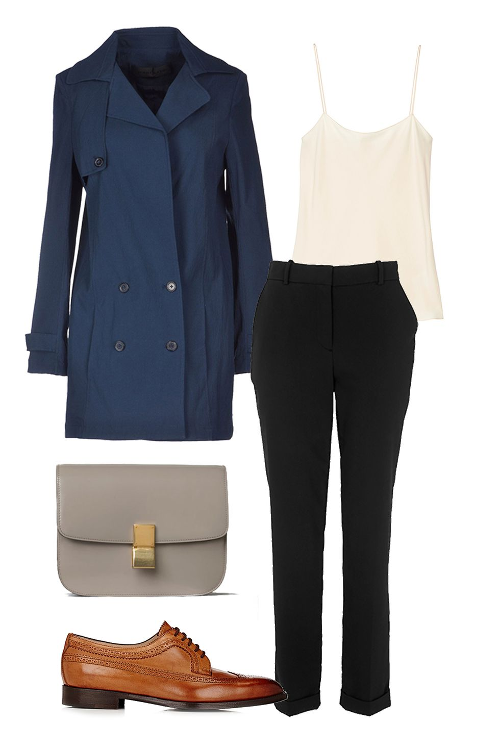 how-to-style-black-slim-pants-white-cami-cognac-shoe-brogues-gray-bag-blue-navy-jacket-coat-trench-fall-winter-fashion-lunch.jpg