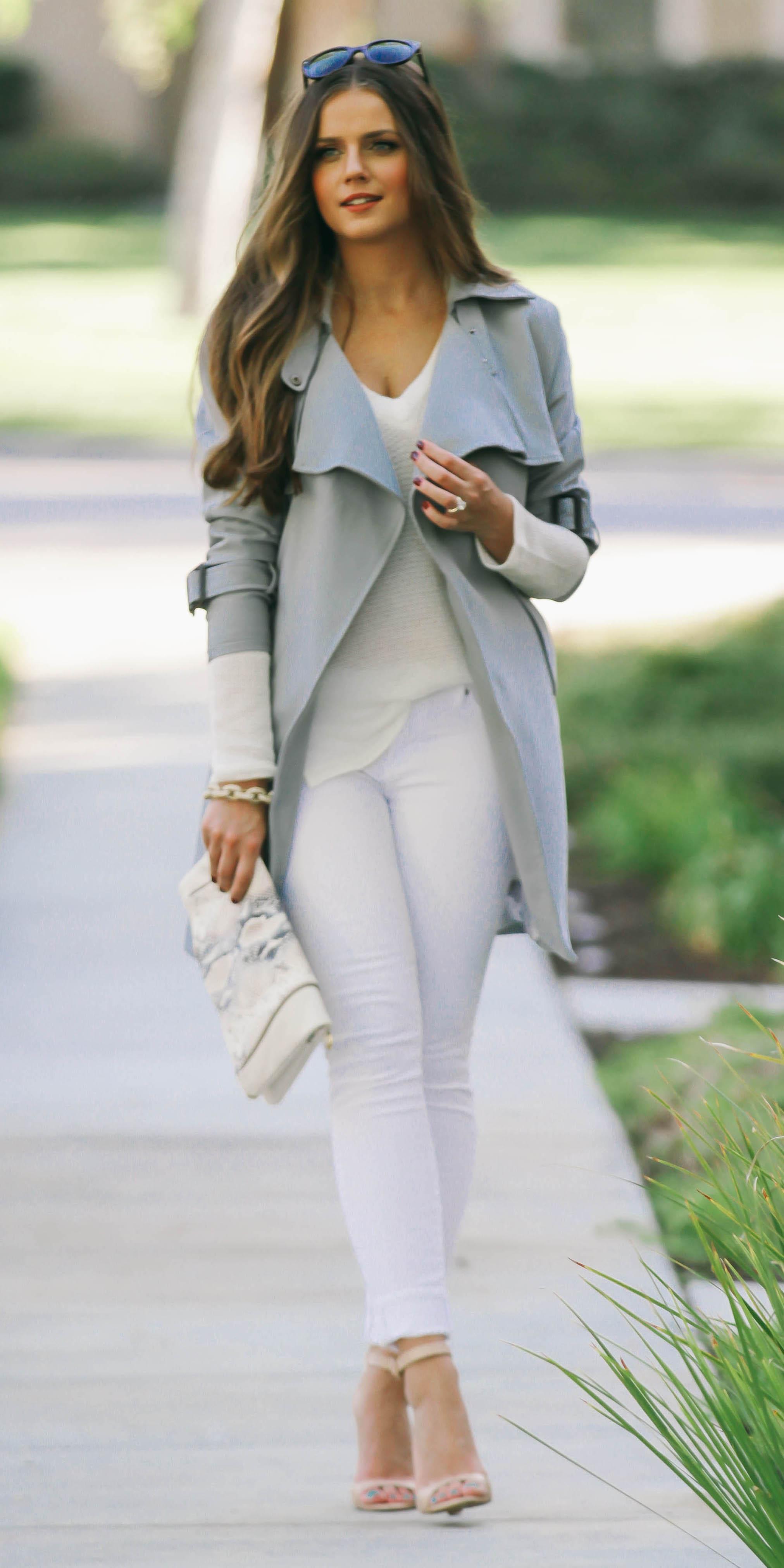 white-skinny-jeans-white-sweater-white-bag-clutch-hairr-tan-shoe-sandalh-grayl-jacket-coat-trench-fall-winter-dinner.jpg