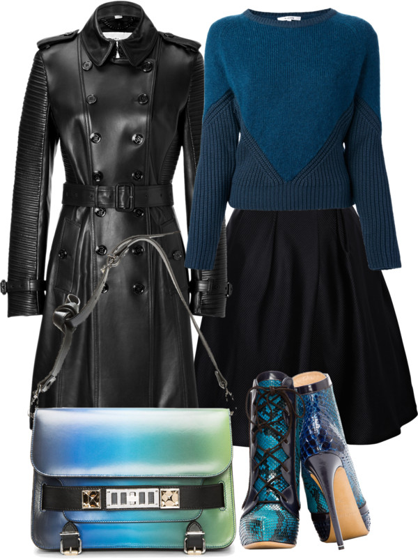 black-mini-skirt-blue-navy-sweater-teal-black-jacket-coat-trench-blue-bag-blue-shoe-booties-snakeskin-trench-howtowear-fashion-style-outfit-fall-winter-dinner.jpg