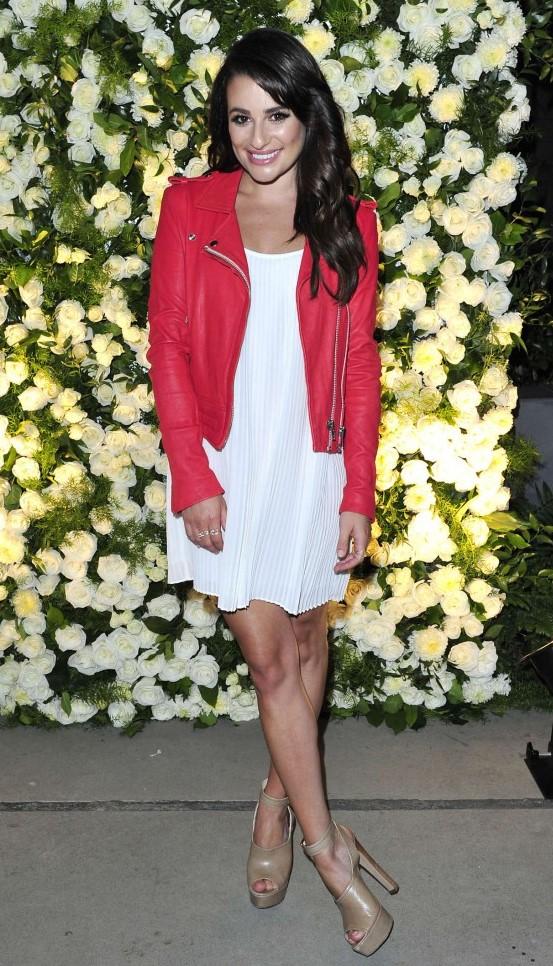 white-dress-mini-swing-red-jacket-moto-brun-tan-shoe-sandalh-leamichele-fall-winter-dinner.jpg