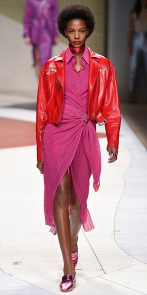 pink-magenta-dress-wrap-pink-shoe-loafers-choker-red-jacket-moto-spring-summer-brun-lunch.jpg