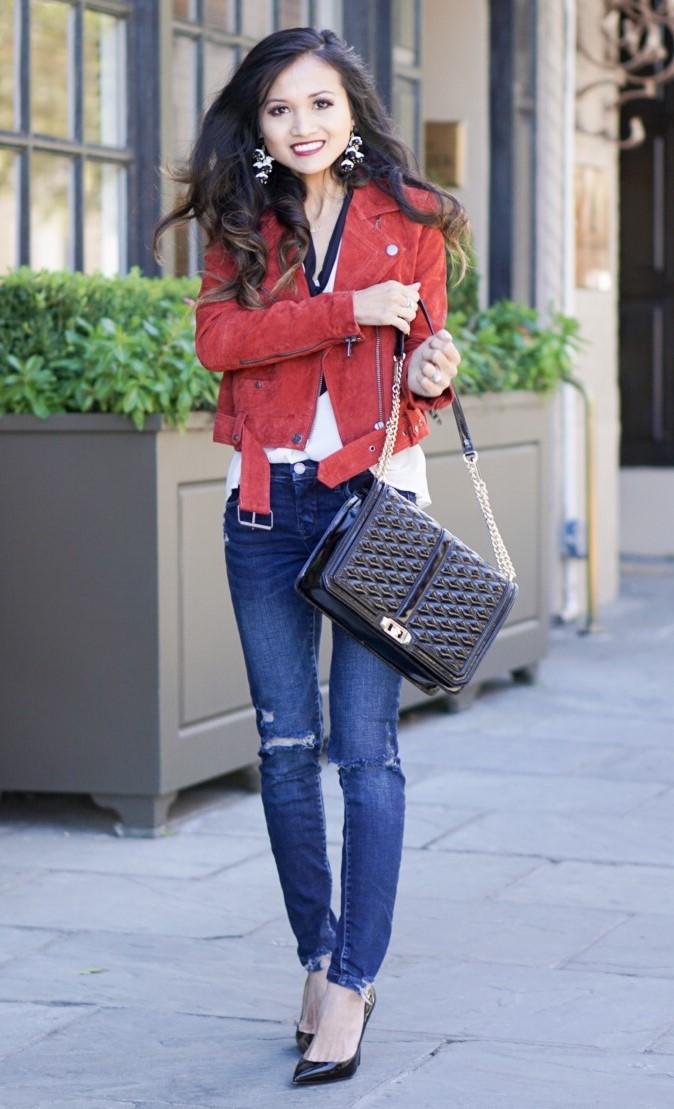 blue-navy-skinny-jeans-black-bag-earrings-brun-black-shoe-pumps-red-jacket-moto-fall-winter-lunch.jpg
