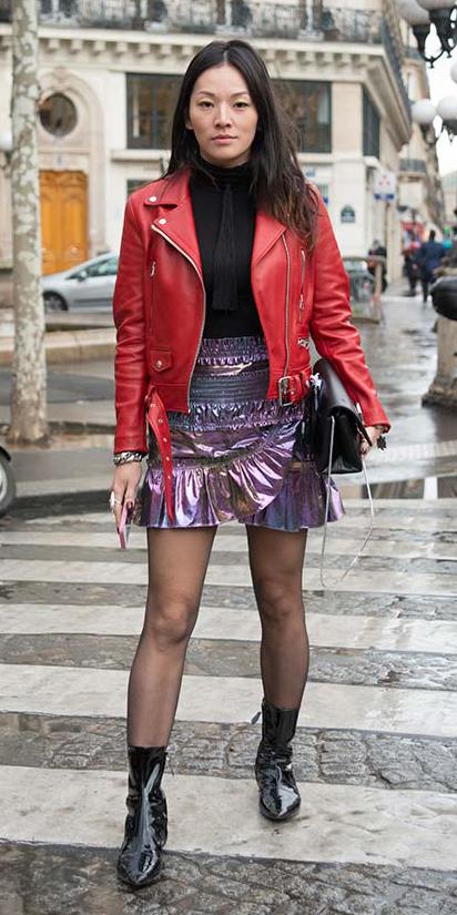 purple-light-mini-skirt-black-top-turtleneck-wear-style-fashion-fall-winter-black-tights-black-bag-red-jacket-moto-metallic-black-shoe-booties-brun-lunch.jpg