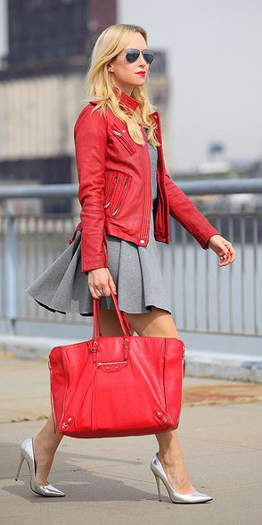 grayl-mini-skirt-red-bag-tote-gray-shoe-pumps-silver-sun-red-jacket-moto-spring-summer-blonde-lunch.jpg