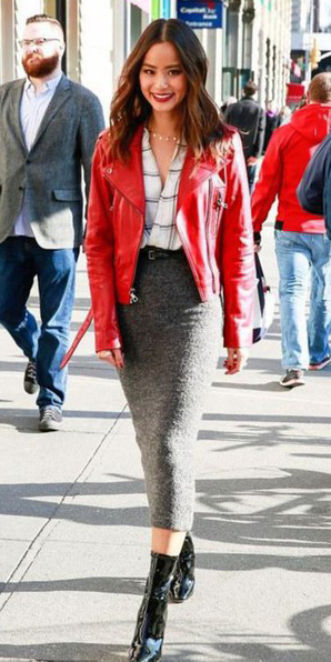 grayd-midi-skirt-white-plaid-shirt-red-jacket-moto-jamiechung-black-shoe-booties-fall-winter-brun-lunch.jpg