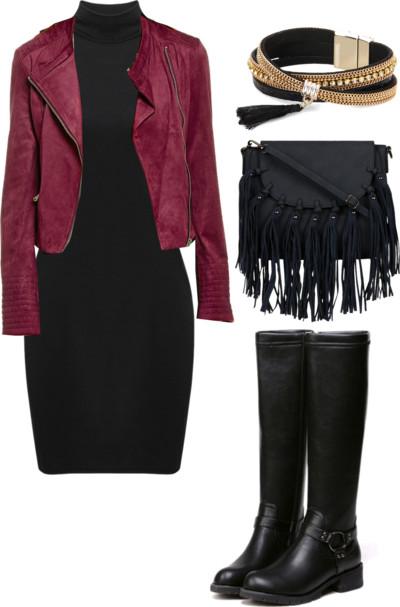 black-dress-bodycon-red-jacket-moto-black-shoe-boots-black-bag-fringe-bracelet-fall-winter-lunch.jpg