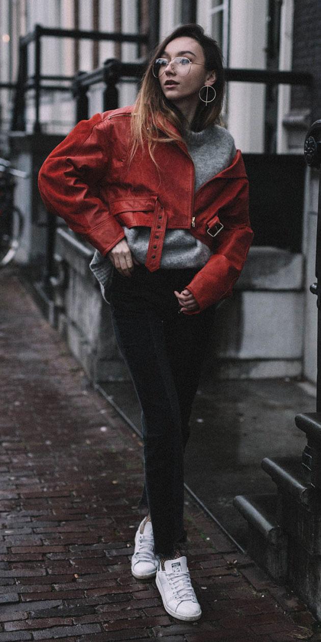 black-skinny-jeans-grayl-sweater-white-shoe-sneakers-earrings-red-jacket-moto-fall-winter-hairr-weekend.jpg
